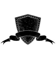 shield with award ribbon banner black hand drawn vector image vector image