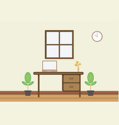 workplace with computer near window vector image