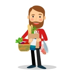 Young man with food bag vector