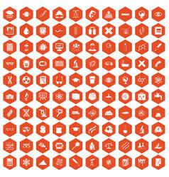 100 microscope icons hexagon orange vector