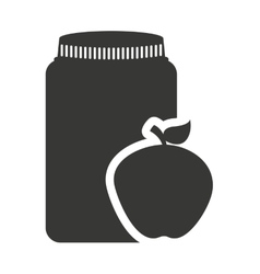 Canned fruit in mason jar monochrome silhouette vector