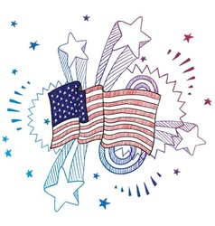 Doodle pop flag american usa vector
