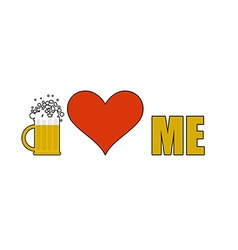 Beer loves me heart symbol of adoration mug of vector