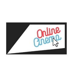 Color vintage online cinema emblem vector