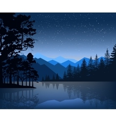 Nature backdrop of mountains and lake landscape vector
