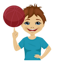 Little boy spinning basketball ball with finger vector
