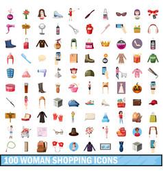 100 women shopping icons set cartoon style vector image