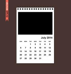 July 2014 calendar vector image
