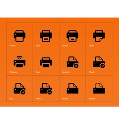 Printer icons on orange background vector
