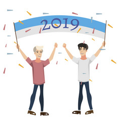 2019 happy new year people celebration vector image vector image