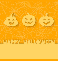 Three orange pumpkins on the background of the web vector