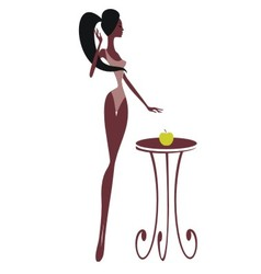 Silhouette of a beautiful girl with an apple vector