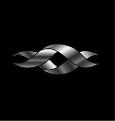 Twisted ribbon- abstract logo in silver color vector