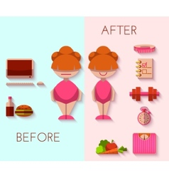 Diet result in flat style vector