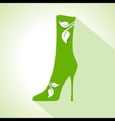 Ecology concept - shoes with leaf vector