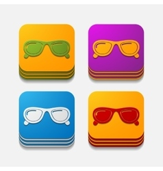Square button sunglasses vector