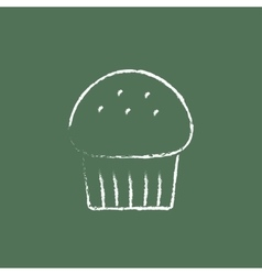 Cupcake icon drawn in chalk vector
