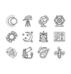 Flat line space research icons vector