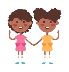 Twins happy kids holding hands boy and girl vector image