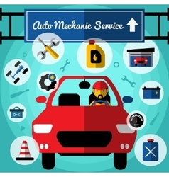 Auto mechanical service decorative icons set vector