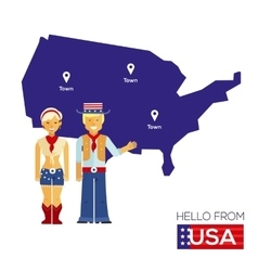 American couple in national costumes on a vector