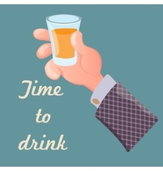 Hand holding a glass of alcoholic drink vector