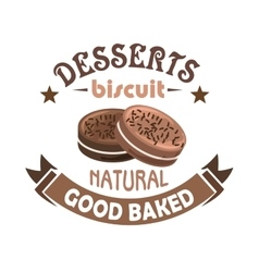 Chocolate pastries and biscuits badge design vector