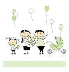 Happy birthday parents with children newborn baby vector