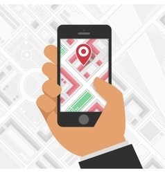 Phone gps mark on the map background vector