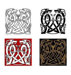 Ancient celtic ornament with wild animals vector image vector image