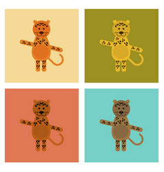 Assembly flat icons nature cartoon leopard vector