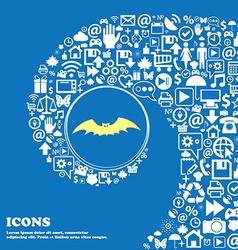 bat sign symbol Nice set of beautiful icons vector image