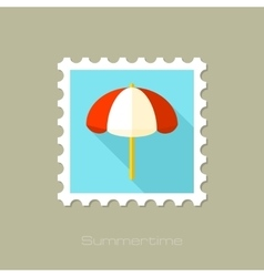 Beach parasol flat stamp with long shadow vector