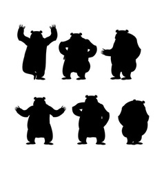 Bear set silhouette grizzly various poses vector