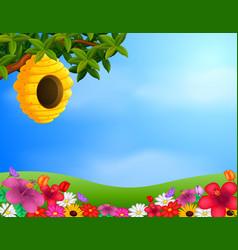 beehive in the garden vector image vector image