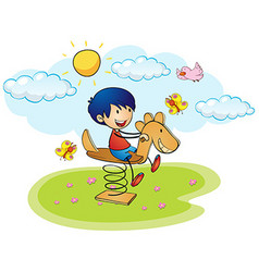 Boy playing on rocking horse vector