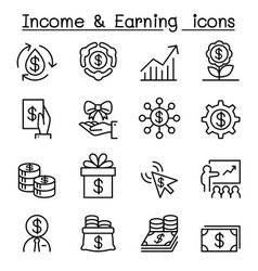 Business investment income earning icon set vector