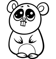 cartoon kawaii hamster coloring page vector image vector image
