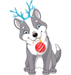 christmas dog vector image vector image
