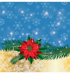 Christmas golden background with poinsettia vector image