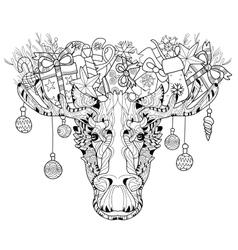 Christmas head of elk layered vector image