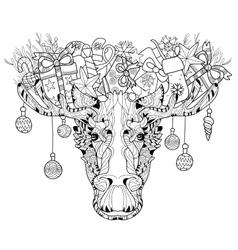 Christmas head of elk layered vector