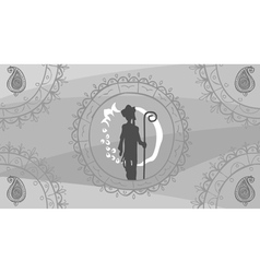 Drawing ornament in oriental style and a man vector image vector image