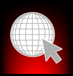 earth globe with cursor postage stamp or old vector image vector image