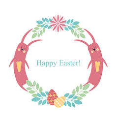 easter round frame rabbit flowers plants eggs vector image vector image