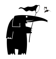 Elefant and bird of paradise silhouette vector