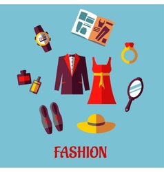 Flat fashion icons vector