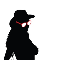 girl with sunglasses silhouette vector image