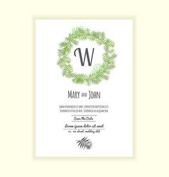 greenery wedding invitation card vector image