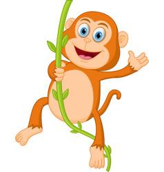 Happy monkey swinging vector